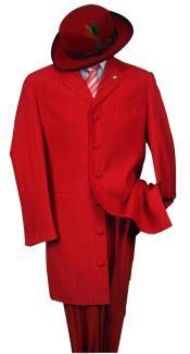 SKU# LT32 Men's Metalic Hot Red Fashion Dress Zoot Suit 38 Inch Long