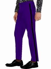 Pants - Flat Front Pants Dark Purple