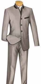 Banded Collar Suit - Mandairn Suit - No Collar Suit -