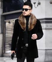 Collars Mens Overcoat - Peacoat Wool and Cashmere Black