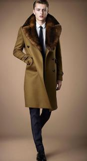 Collars Mens Overcoat - Peacoat Wool and Cashmere Brown