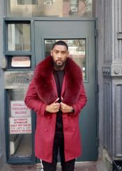 Collars Mens Overcoat - Peacoat Wool and Cashmere Red