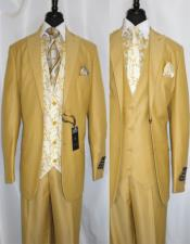 Brand: Falcone Suits Mens Suit Single Breasted 2 Button Suit Jacket Gold