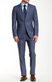 Mens Blue Sharkskin Two Button Notch Lapel Modern Fit Suit