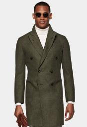 Green Peacoat - Three Quarter Double Breasted Overcoat - Wool Topcoat By Alberto Nardoni