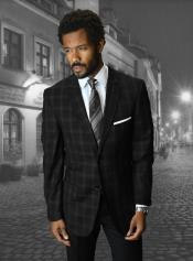 Black Windowpane Blazer - Blazer Plaid Blazer - Wool Sportcoat