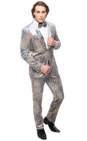 Floral Suit - Paisley Suit - Fashion Suit Blue