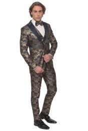 Floral Suit - Paisley Suit - Fashion Suit Navy