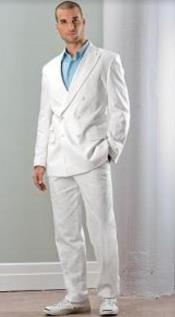 White Linen Suit - Double Breasted Suit