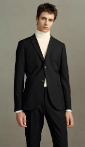 Turtleneck Suit + Free Turtleneck Sweater Package Black Suit