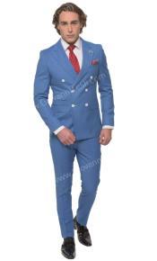 Mens Six Button Peak Lapel Slim Fit Double Breast Suit Blue
