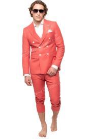 Mens Six Button Peak Lapel Slim Fit Double Breast Suit Salmon