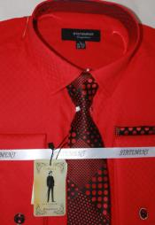 Mens Red Dress Shirts with Tie