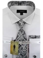 Mens White ~ Black Dress Shirts