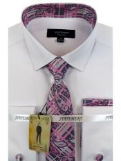 Mens White ~ Pink Dress Shirts with Tie and Cuff Link Set