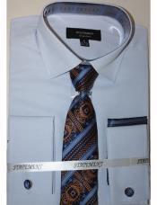 Mens Sky Dress Shirts with Tie