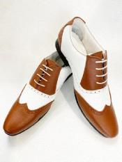 1920s Shoes - Gangster Shoes - Spectator Dress Shoes For Men White