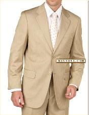 SKU#D622SI Tan~Beige~Bronz Pinstripe 2 Button Double Vent Mens Suit