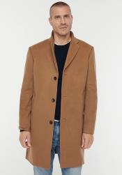 Men's Three Button Notch Label Topcoat in Wool-cashmere Toffee