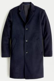 Men's Three Button Notch Label Topcoat in Wool-cashmere Navy