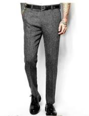 Mens Herringbone Wool Pants - Tweed Flat Pants