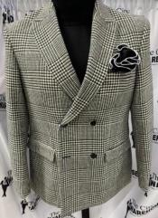 Mens Two Button Peak Lapel Black ~ White Suit