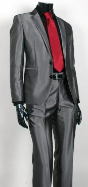 Shiny Sharkskin Charcoal Gray 2 Button Style Jacket Flat Front Pants New Style