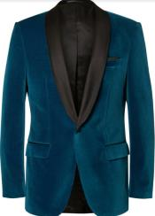 Teal Tuxedo - Velvet Dinner Jacket - Mens Velvet Blazer