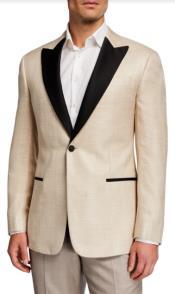 Champagne Tuxedo - Tan Tuxedo - Mens Velvet Blazer With Matching Bowtie