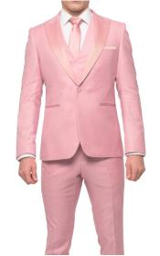 Mens Two Button Single Breasted Slim Fit Pink