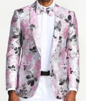 Mens Two Button Single Breasted Slim Fit Pink Floral Blazer Pink Tuxedo