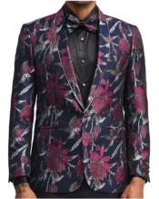 Mens Two Button Single Breasted Slim Fit Gold and Silver Floral Blazer