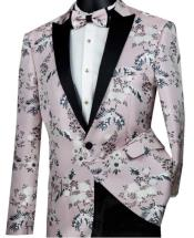 Mens Two Button Single Breasted Slim Fit Blush Pink Blazer Pink Tuxedo