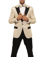 Mens Ivory Tuxedo With Ivory Stripe Pants