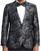 Mens Black and Silver Floral Blazer