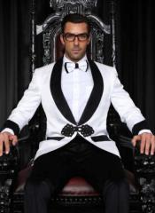 White Dinner Jacket - White and Black Lapel and Sleeve Tuxedo +