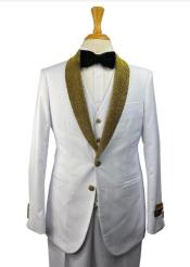 White and Gold Tuxedo - White Vested Suits