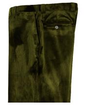Mens Olive Green Velvet Pants Flat Front Unhemmed Unfinished Bottom
