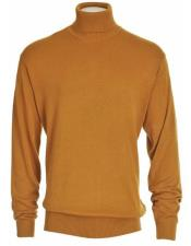 Mens Camel Cotton Blend Turtleneck Sweater Shirt