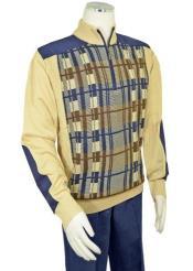 Mens Bagazio Beige ~ Navy Microsuede Sweater