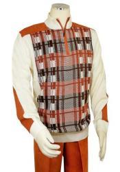 Mens Bagazio Cream ~ Rust Microsuede Sweater