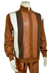 Mens Bagazio Cognac ~ Brown ~ Ivory Microsuede Sweater
