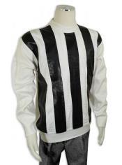 Mens Bagazio Off-White ~ Black Microsuede Sweater