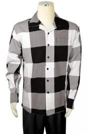 Mens Bagazio Black ~ White ~ Grey Checker Design Long Sleeve Outfit