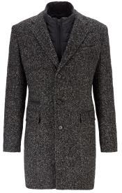 Mens Single Breasted Slim-Fit Herringbone Coat
