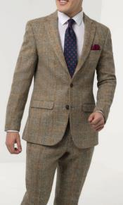 Mens Brown Windowpane Check Tweed Suit