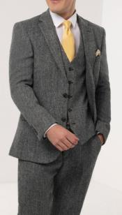 Mens Gray Windowpane Check Tweed Suit