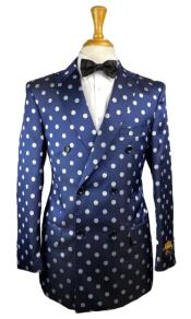 Polka Dot Blazer - Polka Dot Sport Coat - Double Breasted Jacket