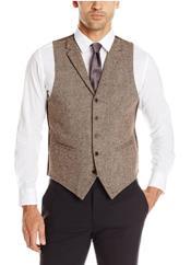 Mens Vest Brown Tweed
