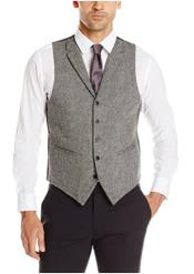 Mens Vest Charcoal Tweed